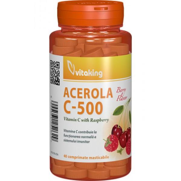 Vitamina C 500 mg cu acerola Vitaking - 40 comprimate masticabile