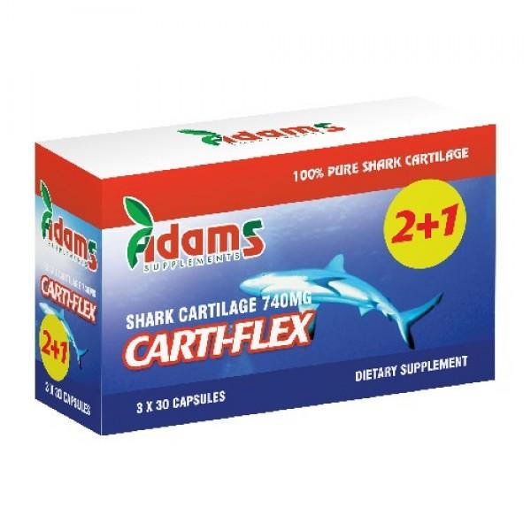Carti-Flex: Cartilaj de rechin 740mg Adams Supplements (Pachet 2+1 gratis) - 3 x 30 capsule