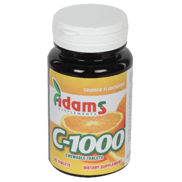 C-1000 cu aroma de portocale Adams Supplements - 30 tablete masticabile