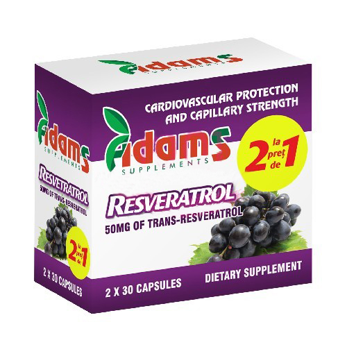Resveratrol 50 mg Adams Supplements (Pachet 1+1 gratis) - 2 x 30 capsule imagine produs 2021 Adams Supplements