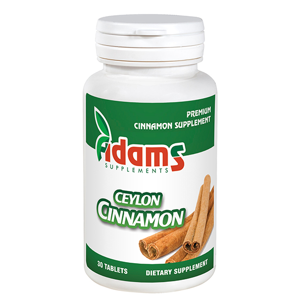Ceylon cinnamon (scortisoara) 1000 mg Adams Supplements - 30 capsule imagine produs 2021 Adams Supplements