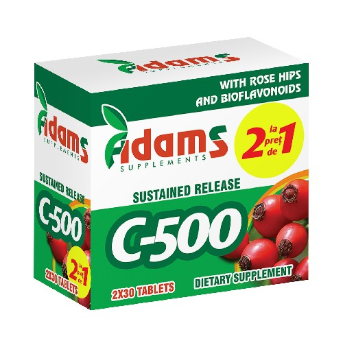 Vitamina C-500 cu macese Adams Supplements (Pachet 1+1 gratis) - 2 x 30 capsule imagine produs 2021 Adams Supplements