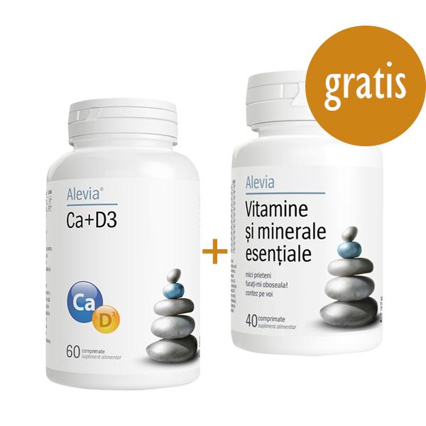 Ca+D3 Alevia - 60 comprimate + Vitamine si minerale esentiale Alevia - 40 comprimate (gratis) imagine produs 2021 Alevia