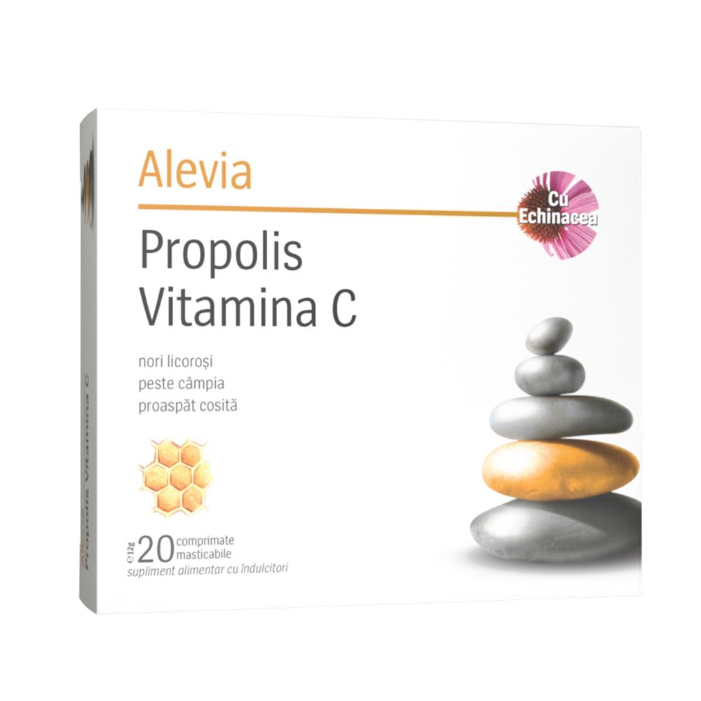 Propolis vitamina C cu echinacea (2 blistere x 10 comprimate) Alevia - 20 comprimate masticabile imagine produs 2021 Alevia