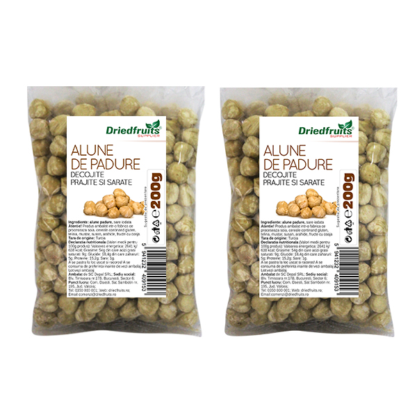 Alune padure decojite prajite si sarate - 200 g x 2 Buc (PROMO - 15%) imagine produs 2021 Dried Fruits