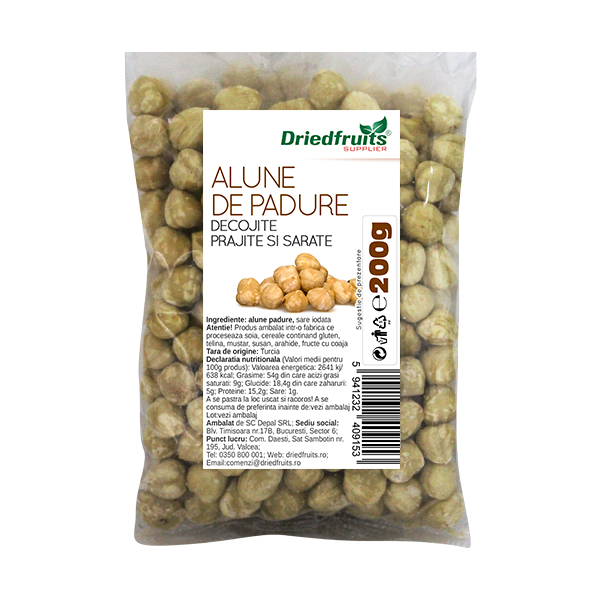 Alune padure decojite prajite si sarate Sunlit - 200 g imagine produs 2021 Dried Fruits