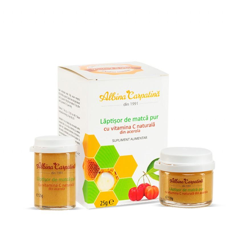 Laptisor de matca cu vitamina C 25 g + Laptisor de matca cu vitamina C 10 g (Pachet) Albina Carpatina imagine produs 2021 Albina Carpatina