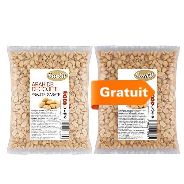 Arahide decojite prajite si sarate (albe) Sunlit - 400 g (Pachet 1+1 Gratis) imagine produs 2021 Dried Fruits