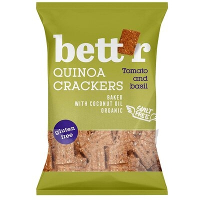 Crackers cu quinoa, rosii si busuioc (fara gluten) BIO Bettr - 100 g imagine produs 2021 Dried Fruits