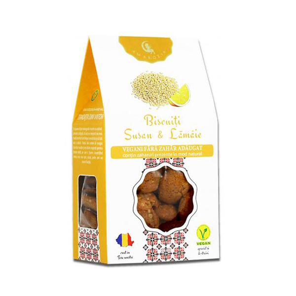 Biscuiti vegani cu susan si lamaie (fara zahar) Ambrozia - 150 g imagine produs 2021 Ambrozia