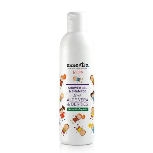 Gel de dus & sampon 2 in 1 aloe vera & fructe de padure - pt copii BIO Essentiq - 250 ml imagine produs 2021 Essentiq