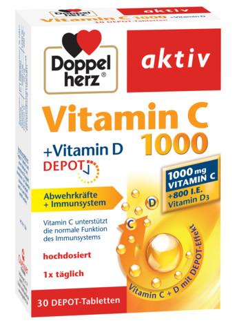 Aktiv Vitamina C 1000 mg + Vitamina D Depot Doppelherz - 30 capsule imagine produs 2021 Doppel Herz