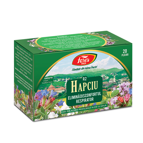 Ceai Hapciu elimina disconfortul respirator (20 pliculete) Fares - 30 g imagine produs 2021 Fares