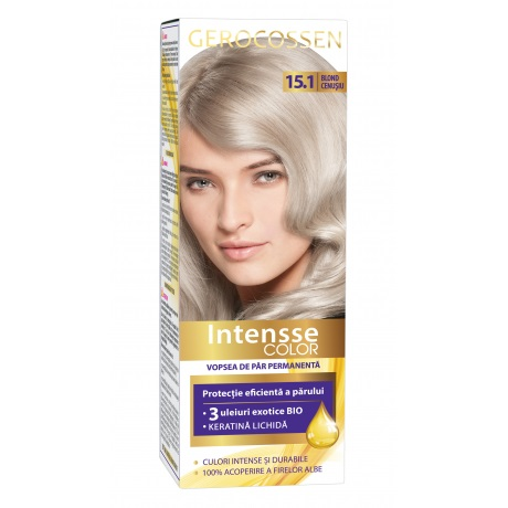 Vopsea de par permanenta (15.1 Blond Cenusiu) Intensse Color Gerocossen - 50 ml imagine produs 2021 Gerocossen