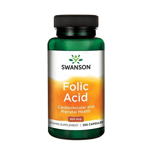 Acid folic 800 mcg Swanson - 250 capsule imagine produs 2021 Swanson