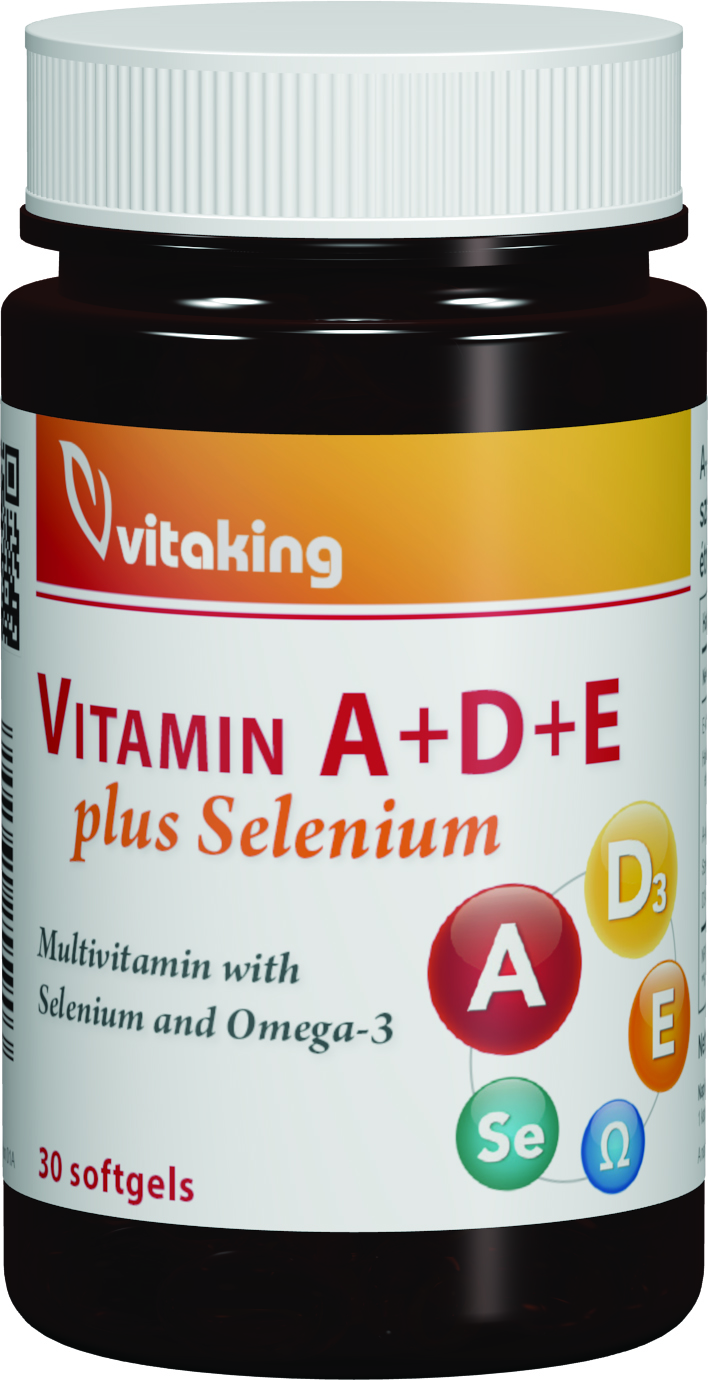 Vitamina A + D + E + Seleniu si Omega 3 Vitaking - 30 capsule imagine produs 2021 Vitaking