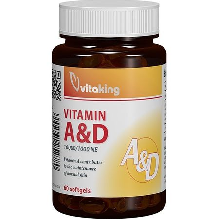 Vitamina A & D (10.000/ 1.000 UI) Vitaking - 60 capsule moi imagine produs 2021 Vitaking