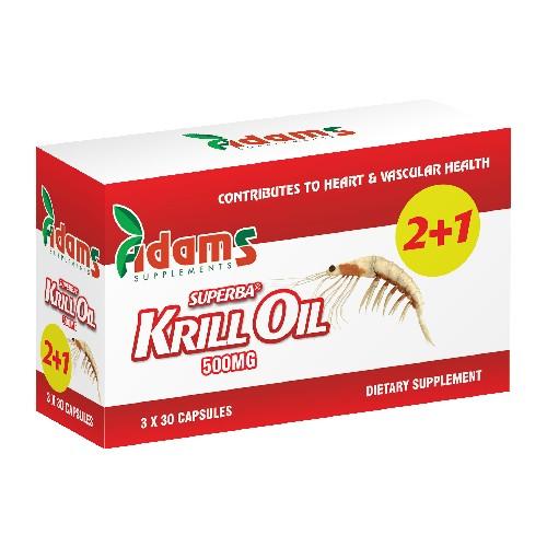Krill Oil 500mg Adams Supplements (Pachet 2+1 gratis) - 3 x 30 capsule imagine produs 2021 Adams Supplements