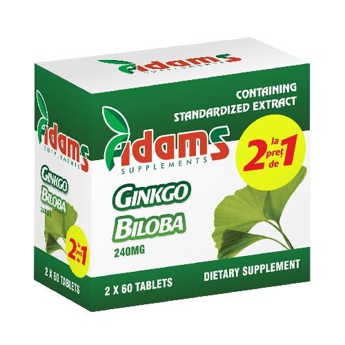 Ginkgo Biloba Adams Supplements (Pachet 1+1 gratis) - 2 x 60 capsule imagine produs 2021 Adams Supplements